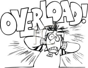 0511-1009-1319-0462_Black_and_White_Cartoon_of_a_Stressed_Out_Guy_with_the_Word_Overload_clipart_image_1